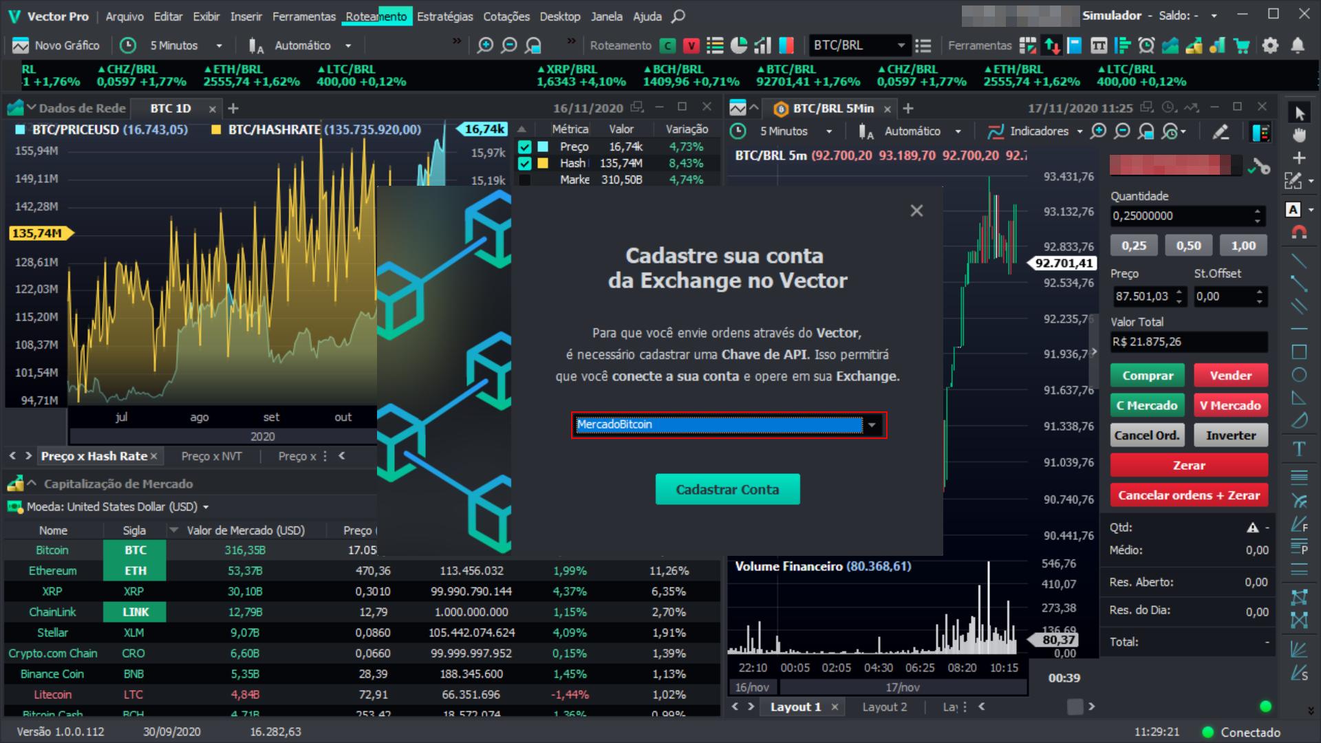 Cadastro de exchanges na plataforma Vector