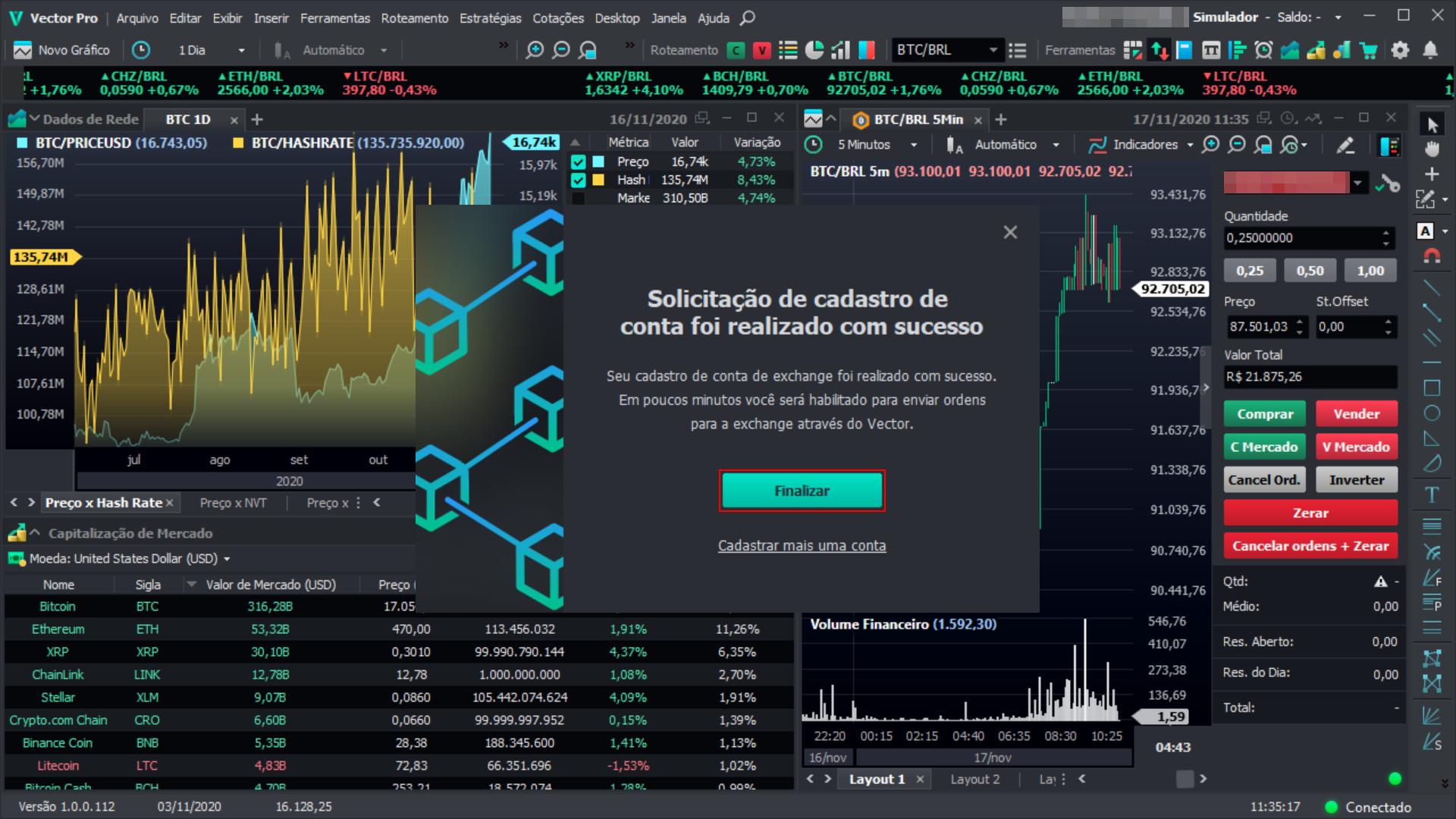 Cadastro de exchange realizado com sucesso na plataforma Vector