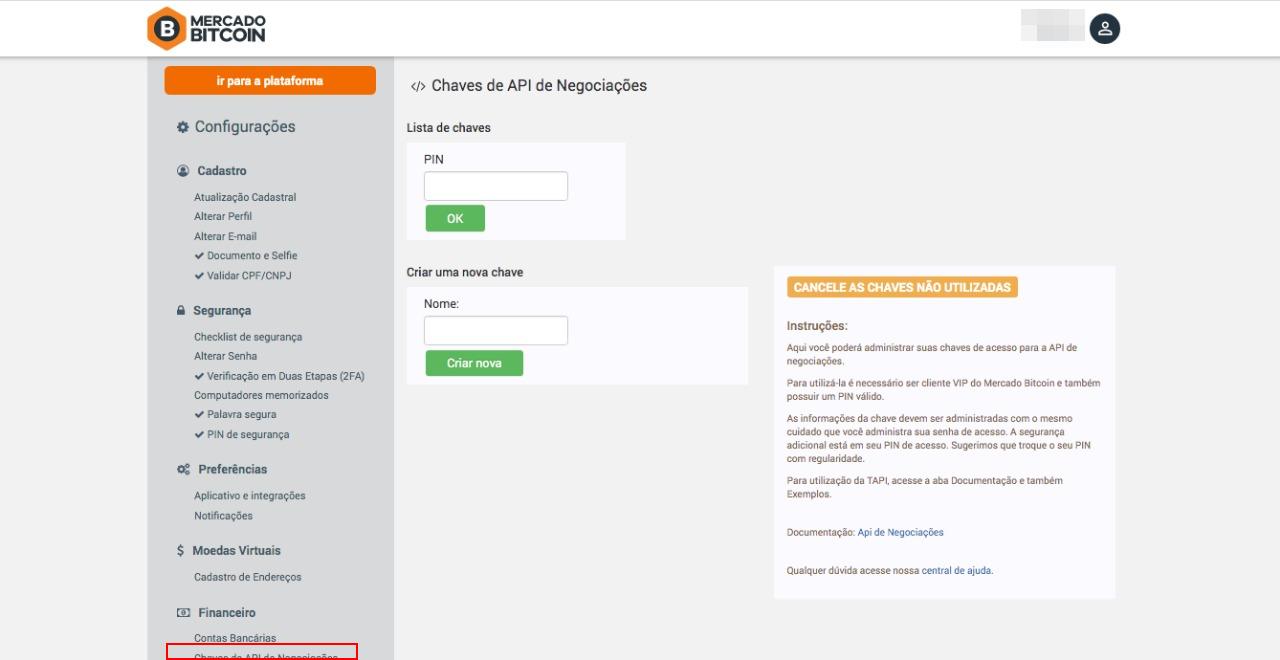 Tela de configurações Mercado Bitcoin - Chave de API