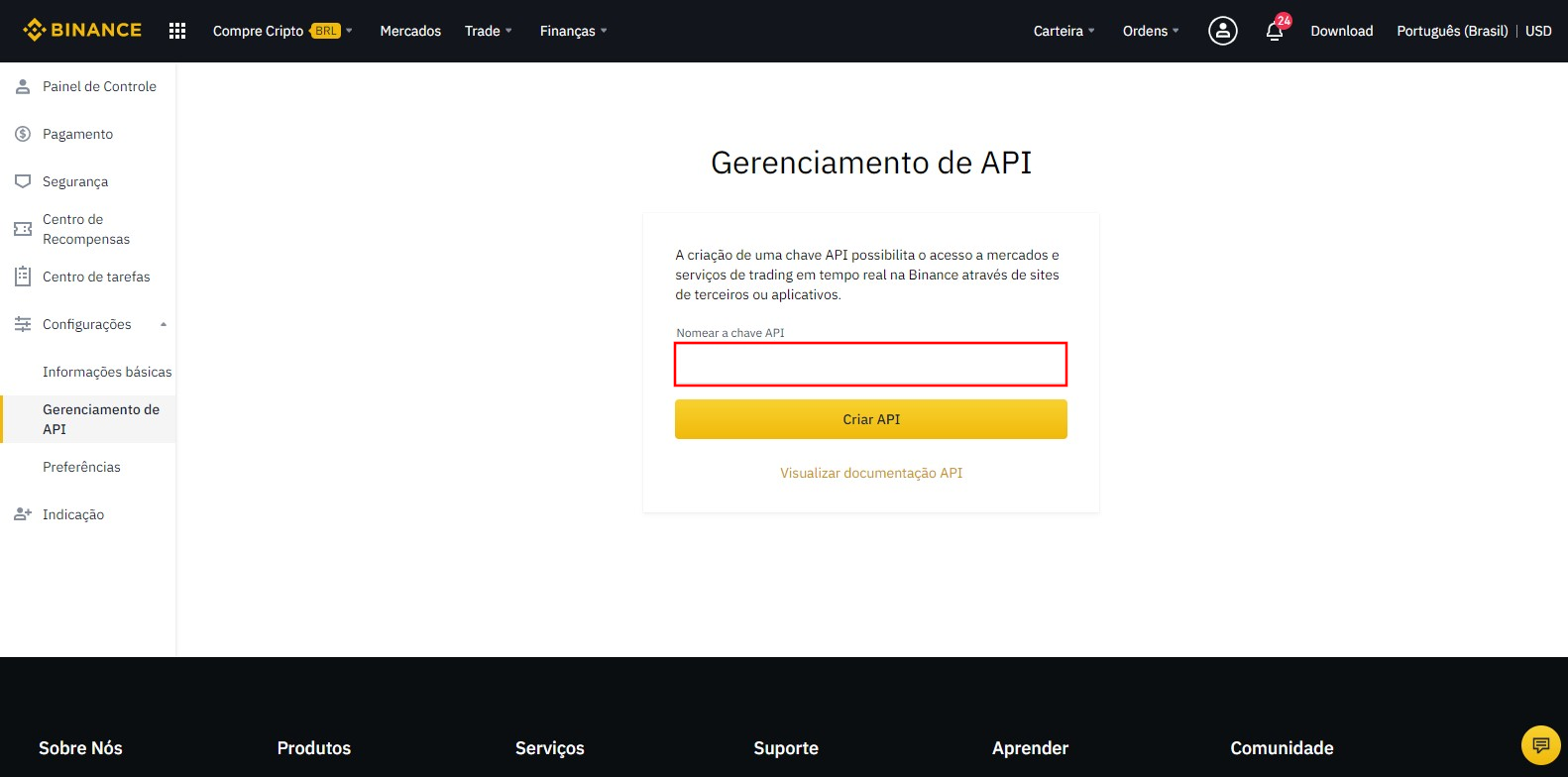Escolha o nome da chave de API