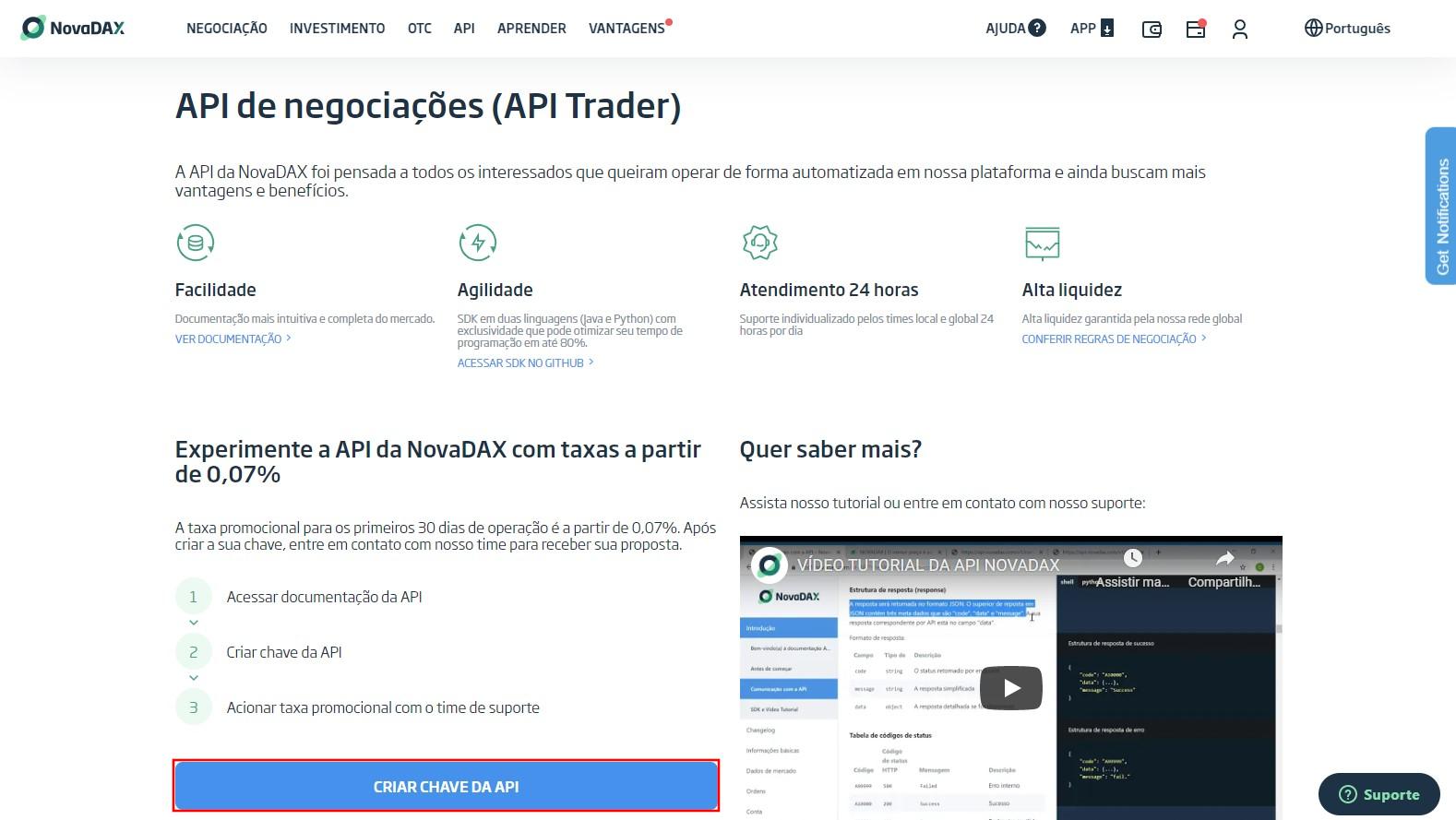 Selecione Criar Chave de API